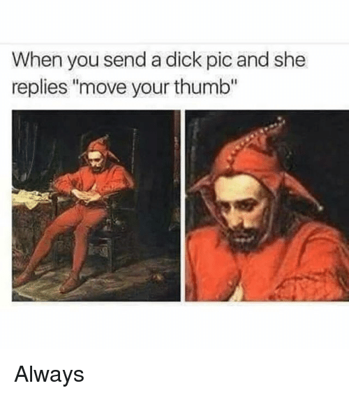 "Memes, Dick, and 🤖: When you send a dick pic and she  replies ""move your thumb"" Always"