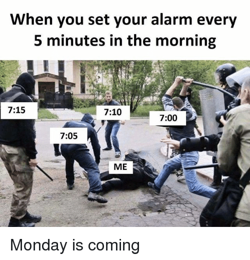 Alarm, Monday, and Dank Memes: When you set your alarm every  5 minutes in the morning  7:15  7:10  7:00  7:05  ME Monday is coming
