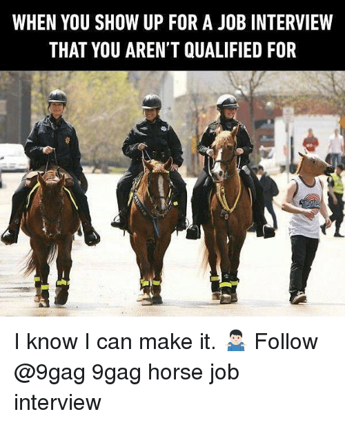 9gag, Job Interview, and Memes: WHEN YOU SHOW UP FOR A JOB INTERVIEW  THAT YOU AREN'T QUALIFIED FOR I know I can make it. 🤷🏻‍♂️ Follow @9gag 9gag horse job interview