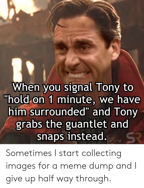 """Signal: When you signal Tony to  """"hold on 1 minute, we have  him surrounded"""" and Tony  grabs the guantlet and  snaps instead.  SR Sometimes I start collecting images for a meme dump and I give up half way through."""