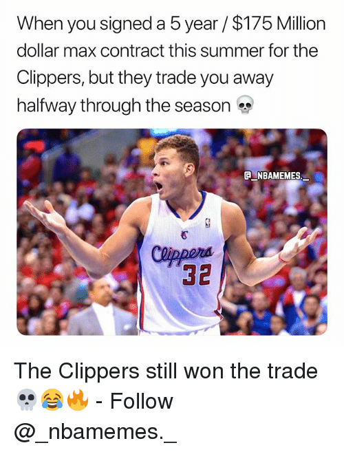 Memes, Summer, and Clippers: When you signed a 5 year $175 Million  dollar max contract this summer for the  Clippers, but they trade you away  halfway through the season  A NBAMEMES,  32 The Clippers still won the trade 💀😂🔥 - Follow @_nbamemes._