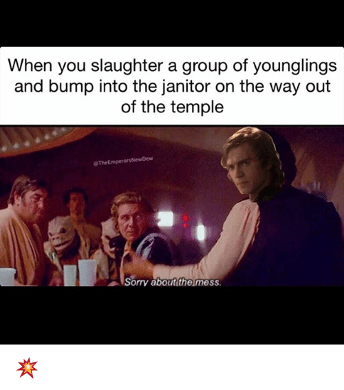 Memes, Sorry, and 🤖: When you slaughter a group of younglings  and bump into the janitor on the way out  of the temple  @TheEmperor Dew  New Sorry about the mess 💥