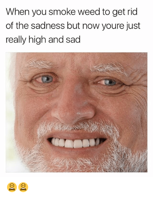 Weed, Dank Memes, and Sad: When you smoke weed to get rid  of the sadness but now youre just  really high and sad 😩😩