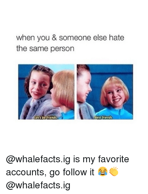 Friends Best Friend: when you & someone else hate  the same person  Let's be friends  Best friends @whalefacts.ig is my favorite accounts, go follow it 😂👏 @whalefacts.ig