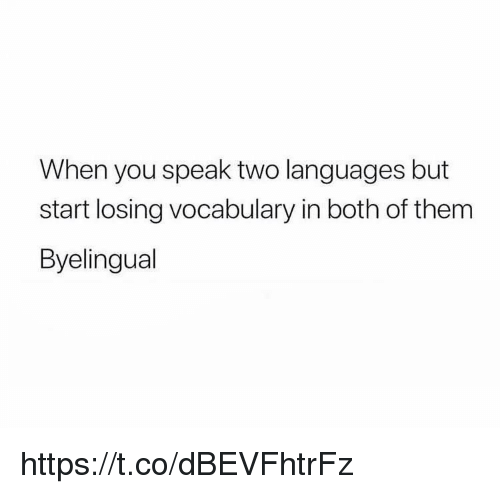 Speak, Them, and You: When you speak two languages but  start losing vocabulary in both of them  Byelingual https://t.co/dBEVFhtrFz