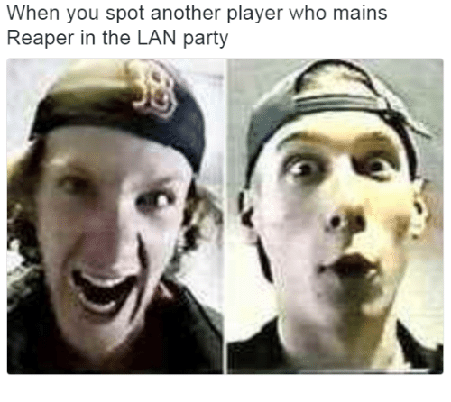 Party, Maine, and Dank Memes: When you spot another player who mains  Reaper in the LAN party