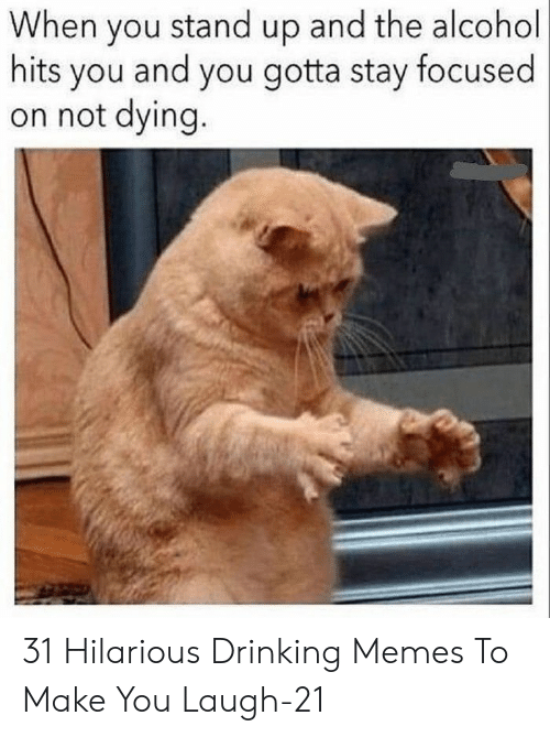 Stay Focused: When you stand up and the alcohol  hits you and you gotta stay focused  on not dying. 31 Hilarious Drinking Memes To Make You Laugh-21