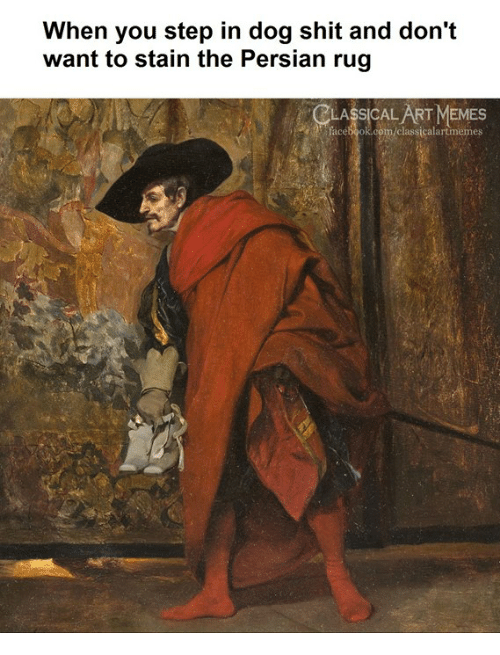 You Step: When you step in dog shit and don't  want to stain the Persian rug  LASSICAL ART MEMES  facebook.com/classicalartmemes