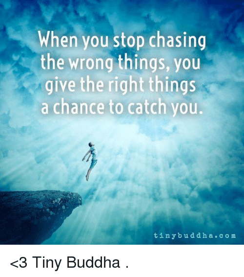 tinie: When you stop chasing  the wrong things, you  give the right things  a chance to catch you.  tin y bud d h a c o m <3 Tiny Buddha  .