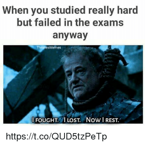 Memes, Lost, and Rest: When you studied really hard  but failed in the exams  anyway  Thrones Memes  I FOUGHT I LOST. Now REST. https://t.co/QUD5tzPeTp