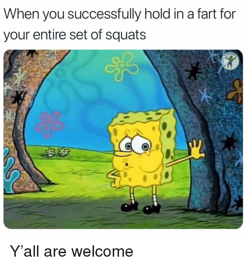 Memes, Squats, and 🤖: When you successfully hold in a fart for  your entire set of squats Y'all are welcome