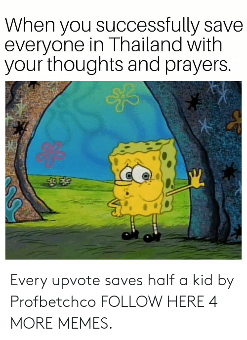 Thailand: When you successfully save  everyone in Thailand with  your thoughts and prayers Every upvote saves half a kid by Profbetchco FOLLOW HERE 4 MORE MEMES.