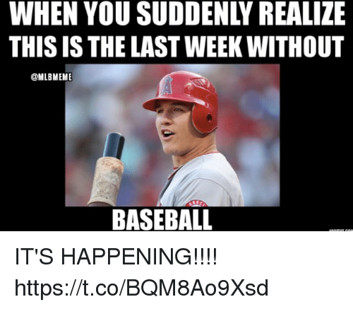 Baseball, Memes, and 🤖: WHEN YOU SUDDENLY REALIZE  THIS IS THE LAST WEEK WITHOUT  @MLBMEM  BASEBALL IT'S HAPPENING!!!! https://t.co/BQM8Ao9Xsd