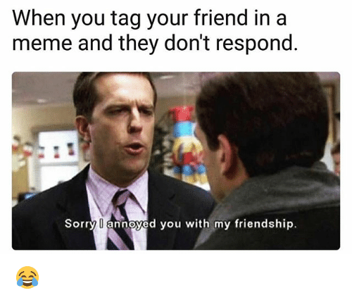 Meme, Memes, and Sorry: When you tag your friend in a  meme and they don't respond  Sorry annoyed you with my friendship. 😂
