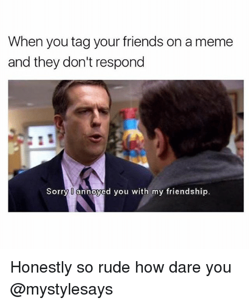 Friends, Meme, and Rude: When you tag your friends on a meme  and they don't respond  Sorry annoyed you with my friendship. Honestly so rude how dare you @mystylesays