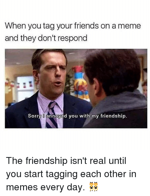 Friends, Meme, and Memes: When you tag your friends on a meme  and they don't respond  Sorry U annoyed you with my friendship. The friendship isn't real until you start tagging each other in memes every day. 👯