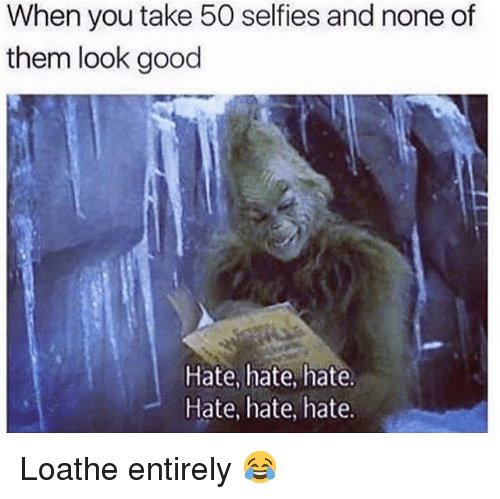 Memes, Good, and 🤖: When you take 50 selfies and none of  them look good  Hate, hate, hate.  Hate, hate, hate. Loathe entirely 😂