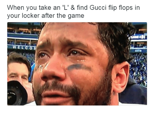 Gucci Flip Flops: When you take an 'L' & find Gucci flip flops in  your locker after the game