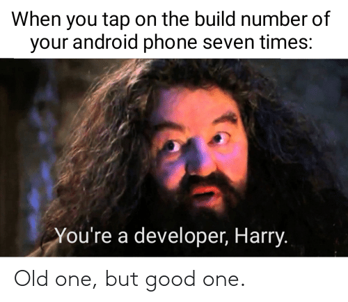 harry: When you tap on the build number of  your android phone seven times:  You're a developer, Harry. Old one, but good one.