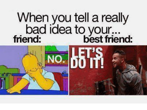 Friendly Friend: When you tell a really  bad idea to your...  best friend:  friend:  No.