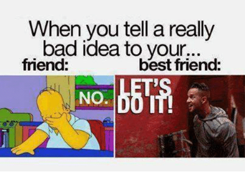 Friends Best Friend: When you tell a really  bad idea to your...  friend:  best friend:  NO.
