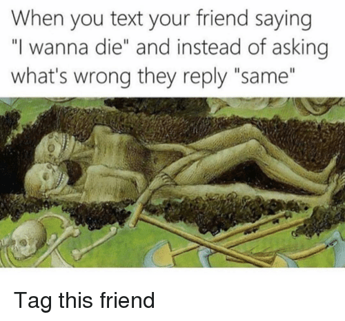 "Funny, Text, and Asking: When you text your friend saying  ""I wanna die"" and instead of asking  what's wrong they reply ""same"" Tag this friend"