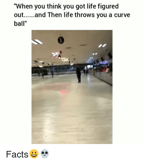 "Curving, Facts, and Funny: ""When you think you got life figured  out.... and Then life throws you a curve  ball"" Facts😀💀"