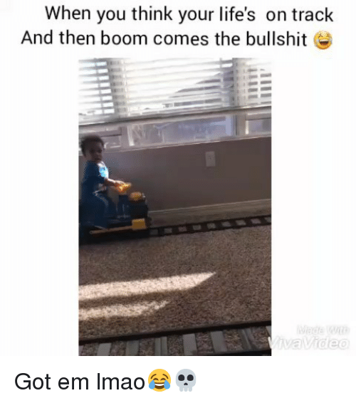 Funny, Lmao, and Bullshit: When you think your life's on track  And then boom comes the bullshit e Got em lmao😂💀