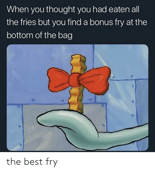 fry: When you thought you had eaten all  the fries but you find a bonus fry at the  bottom of the bag the best fry