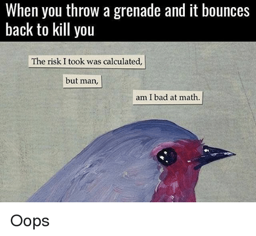Risk I Took Was Calculated But Man Am I Bad At Math: When you throw a grenade and it bounces  back to kill you  The risk. I took was calculated,  but man,  am I bad at math. Oops