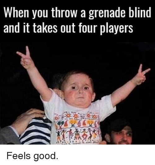 Memes, Good, and 🤖: When you throw agrenade blind  and it takes out four players Feels good.