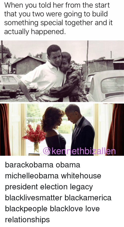 blackpeople: When you told her from the start  that you two were going to build  something special together and it  actually happened barackobama obama michelleobama whitehouse president election legacy blacklivesmatter blackamerica blackpeople blacklove love relationships