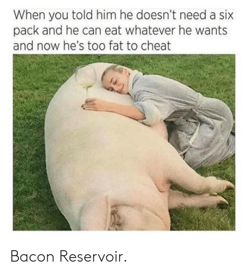 six pack: When you told him he doesn't need a six  pack and he can eat whatever he wants  and now he's too fat to cheat Bacon Reservoir.