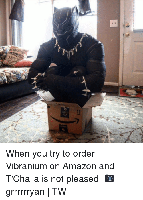 Amazon, Dank, and 🤖: When you try to order Vibranium on Amazon and T'Challa is not pleased.  📷grrrrrryan   TW
