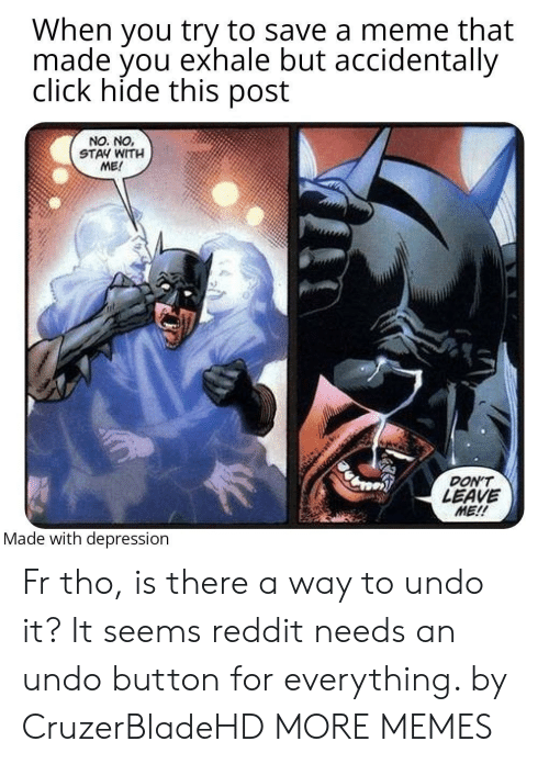 don't leave: When you try to save a meme that  made you exhale but accidentally  click hide this post  NO. NO,  STAY WITH  ME!  DON'T  LEAVE  ME!!  Made with depression Fr tho, is there a way to undo it? It seems reddit needs an undo button for everything. by CruzerBladeHD MORE MEMES