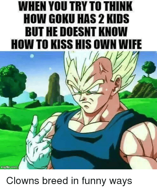 Memes, Clowns, and 2 Kids: WHEN YOU TRY TO THINK  HOW GOKU HAS 2 KIDS  BUT HE DOESNT KNOW  HOW TO KISS HIS OWN WIFE Clowns breed in funny ways