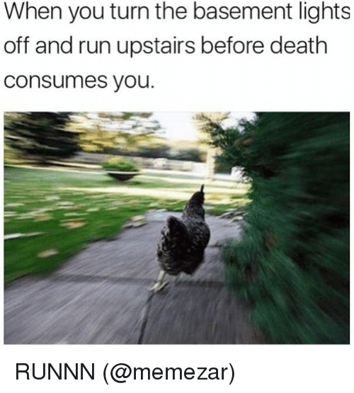 Memes, Run, and Death: When you turn the basement lights  off and run upstairs before death  Consumes you. RUNNN (@memezar)