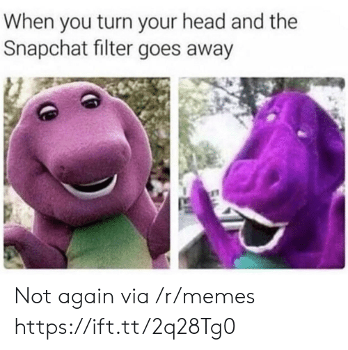 Snapchat Filter: When you turn your head and the  Snapchat filter goes away Not again via /r/memes https://ift.tt/2q28Tg0