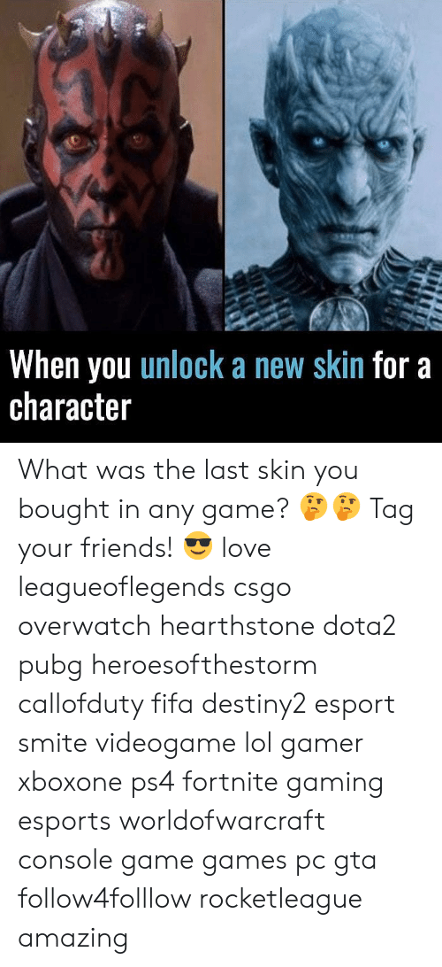 hearstone: When you unlock a new skin for a  character What was the last skin you bought in any game? 🤔🤔 Tag your friends! 😎 love leagueoflegends csgo overwatch hearthstone dota2 pubg heroesofthestorm callofduty fifa destiny2 esport smite videogame lol gamer xboxone ps4 fortnite gaming esports worldofwarcraft console game games pc gta follow4folllow rocketleague amazing