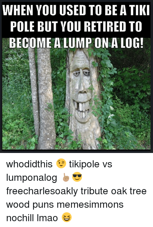 Wood Puns: WHEN YOU USED TO BE A TIKI  POLE BUT YOU RETIRED TO  BECOME A LUMP ON A LOG!  NOG  101  TTO  ADL  EE  EA  BIN  OTO  TE  RP  SOU  UVL  UTA  OUE  YBM  NEO  LC  EOE  PB whodidthis 😉 tikipole vs lumponalog ☝🏽️😎 freecharlesoakly tribute oak tree wood puns memesimmons nochill lmao 😆