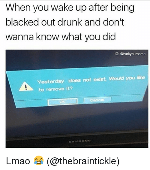 Drunk, Lmao, and Memes: When you wake up after being  blacked out drunk and don't  wanna know what you did  G: @tvckyoumeme  Yesterday does not exist. Would you like  to remove it?  OK Lmao 😂 (@thebraintickle)