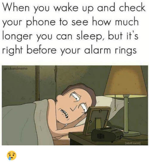 Memes, Phone, and Adult Swim: When you wake up and check  your phone to see how much  longer you can sleep, but it's  right before your alarm rings  grickandmeme  adult swim 😢