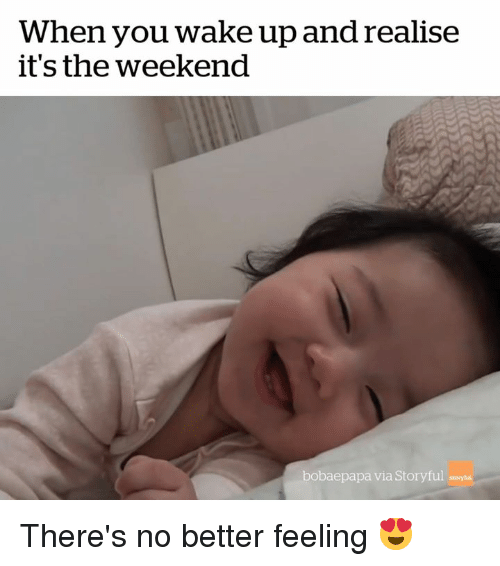 The Weekend, Weekend, and Via: When you wake up and realise  t's the weekend  bobaepapa via Storyful There's no better feeling 😍