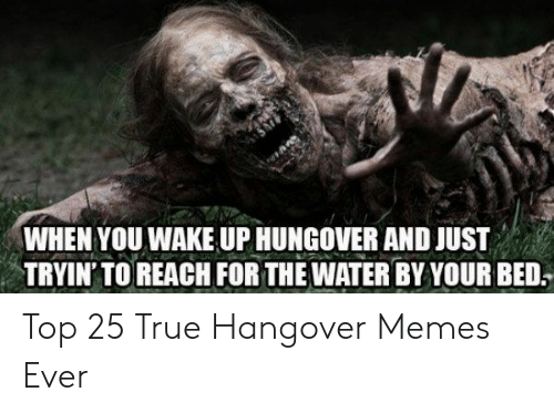 hangover: WHEN YOU WAKE UP HUNGOVER AND JUST  TRYIN' TO REACH FOR THE WATER BY YOUR BED. Top 25 True Hangover Memes Ever