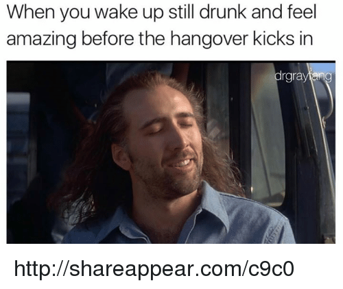 The Hangover: When you wake up still drunk and feel  amazing before the hangover kicks in  rgra http://shareappear.com/c9c0