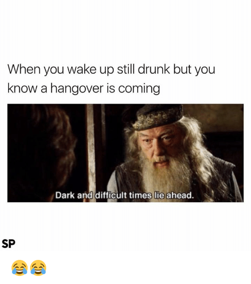 Drunk, Hangover, and Dark: When you wake up still drunk but you  know a hangover is coming  Dark and difficult times lie ahead.  SP 😂😂