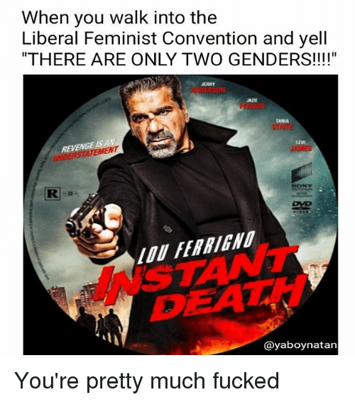 "lou ferrigno: When you walk into the  Liberal Feminist Convention and yell  ""THERE ARE ONLY TWO GENDERS!!!""  JERRY  JADE  TAMA  REVENG  SONY  RI  DVD  LOU FERRIGNO  @yaboynatan You're pretty much fucked"