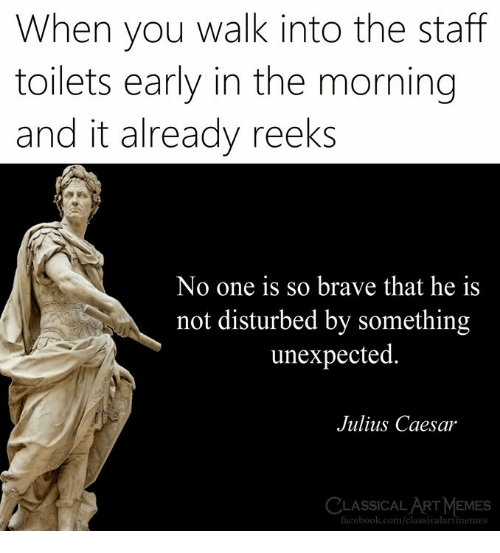 Facebook, Memes, and Brave: When you walk into the staff  toilets early in the morning  and it already reeks  No one is so brave that he is  not disturbed by something  unexpected  Julius Caesar  LASSICAL ART MEMES  facebook.com/classicalartmemes