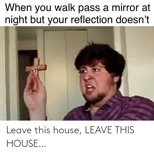 At Night: When you walk pass a mirror at  night but your reflection doesn't Leave this house, LEAVE THIS HOUSE…