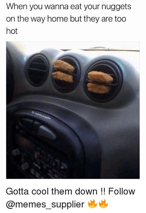 Memes, Cool, and Home: When you wanna eat your nuggets  on the way home but they are too  hot  IG Gotta cool them down !! Follow @memes_supplier 🔥🔥